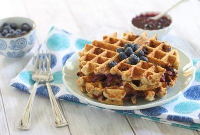 Blueberry Oatmeal Waffles