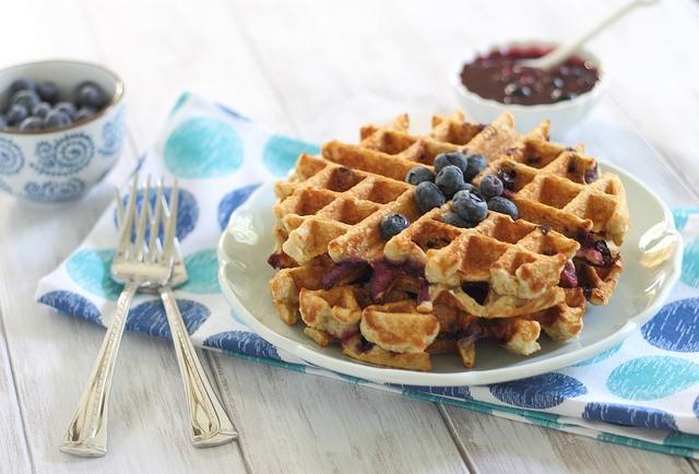 Fantastic Blueberry Oatmeal Waffles